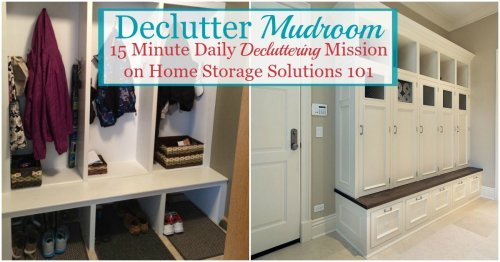 Here is how to declutter your mudroom, or other back entrance to your home, to make it a functional and useful place for your household {a #Declutter365 mission on Home Storage Solutions 101}
