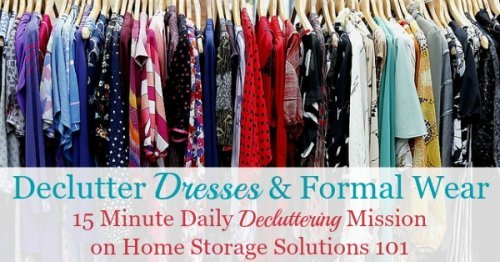 Here is how to declutter your wardrobe of excess and unworn dresses and formal wear, including tips for getting rid of sentimental items and donation ideas {a #Declutter365 mission on Home Storage Solutions 101}