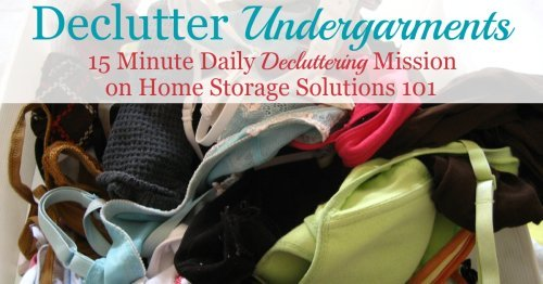 Here are tips for how to declutter your wardrobe of undergarments clutter, including tips for what to keep and how to get rid of the items that you'll no longer store in your closet or drawers {a #Declutter365 mission on Home Storage Solutions 101}