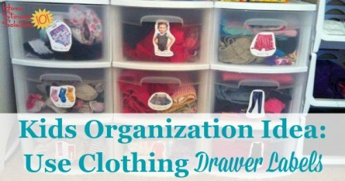 Help your child find and put away their clothes into drawers more easily by using clothing or dresser drawer labels, which will keep their bedroom or closet more organized. Find out more here, plus see lots of pictures from moms and dads who've already done it {on Home Storage Solutions 101}