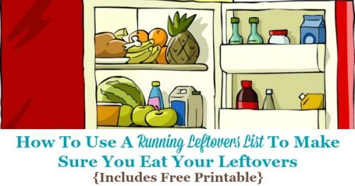 How to use a running leftovers list to make sure you eat your leftovers, including a free printable leftovers inventory form {on Home Storage Solutions 101}