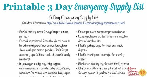 Free printable emergency supply list for three days, to make your emergency preparedness kit for your family {courtesy of Home Storage Solutions 101}