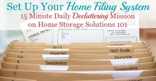 Set up your home filing system using this list of suggested home file categories {a #Declutter365 mission on Home Storage Solutions 101}