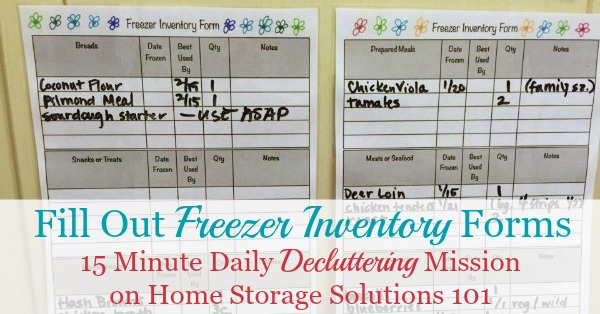 Today's #Declutter365 mission is to fill out freezer inventory forms. This will help you remember what's inside your freezer, to prevent food waste and better plan your meals. Includes a free printable freezer inventory form {courtesy of Home Storage Solutions 101}