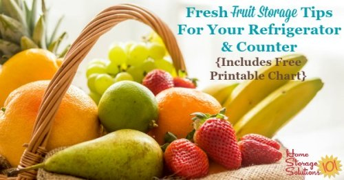 Here are tips for fresh fruit storage on your counter, and in the refrigerator, to keep it fresh and tasting good. A free printable storage chart is included {on Home Storage Solutions 101}