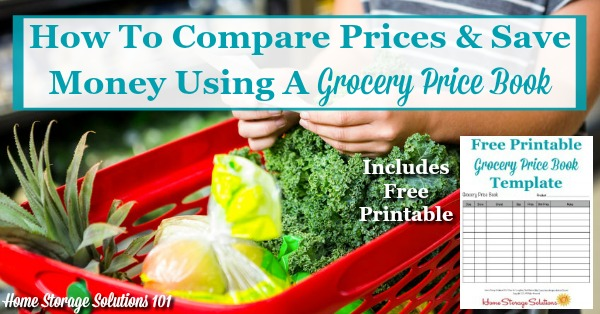 How to compare prices and save money on groceries and other household items using a grocery price book, includes a free #printable template {on Home Storage Solutions 101} #HouseholdNotebook #SaveMoney