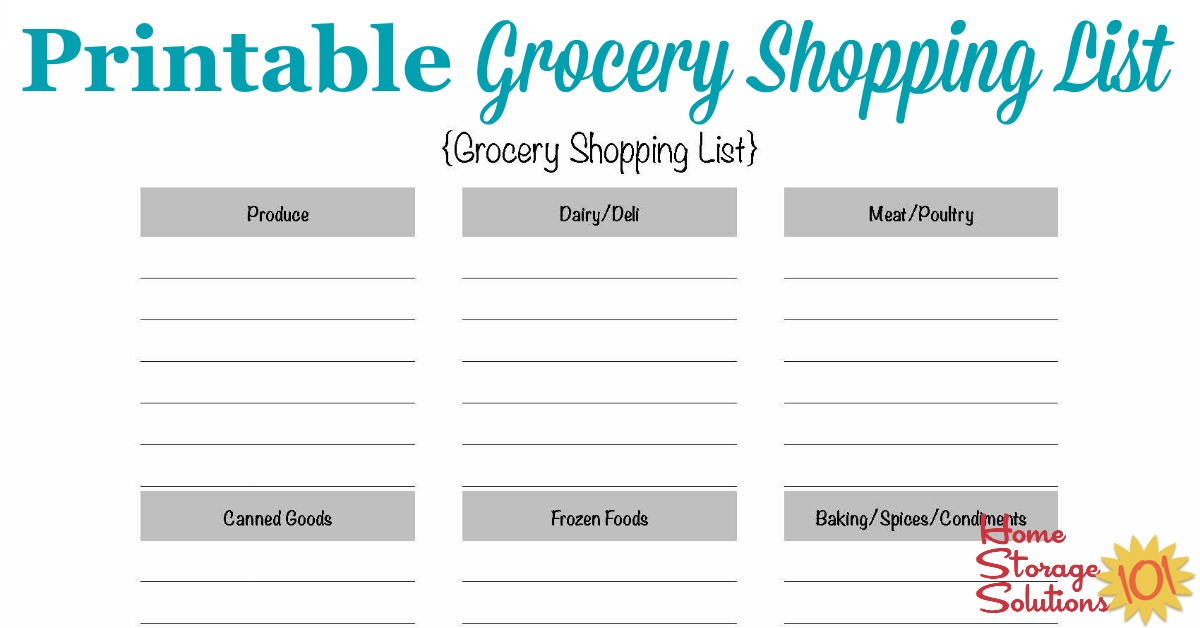 Perfect Home Storage Solutions 101  Free Printable Grocery Shopping List Template