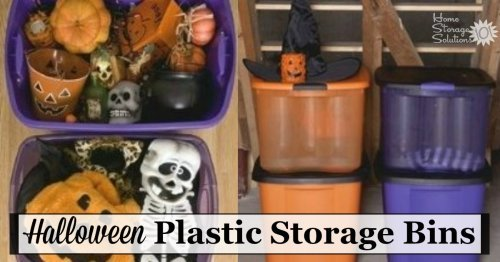 If you're looking for Halloween storage ideas these Halloween plastic storage bins in orange and purple are a cute way to store your decorations for easy visual access year after year {on Home Storage Solutions 101} #HalloweenStorage #HolidayStorage #HalloweenDecorations