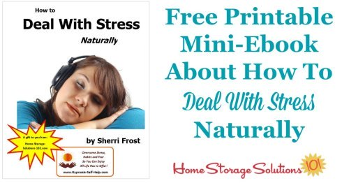 Learning how to deal with stress naturally is a large part of living an organized and happy life. Don't let your long to do list get you down. Instead, take advantage of this free stress management PDF to guide you through self-meditation or self-hypnosis to relieve your stressful feelings {courtesy of Home Storage Solutions 101 and Self Hypnosis Help}