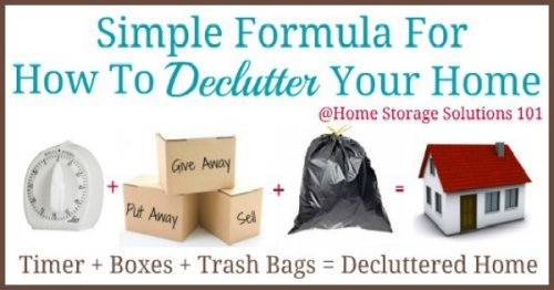 Simple to follow instructions for how to declutter your home, including taking time for clean up at the end so you don't make a bigger mess in the process, or get overhwlemed {on Home Storage Solutions 101}