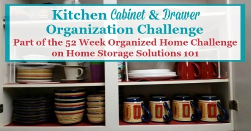 In the kitchen drawer and cabinet organization challenge you'll get step by step instructions for how to organize these spaces, including under the sink, for pots, pans and dishes, the junk drawer, and more {part of the 52 Week Organized Home Challenge on Home Storage Solutions 101} #52WeekChallenge #OrganizedHome #KitchenOrganization