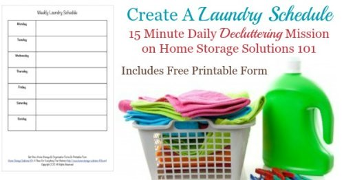 Create a laundry schedule for your household in this #Declutter365 mission. Includes a free printable and four questions to ask yourself to make sure your routine is right for you {on Home Storage Solutions 101}