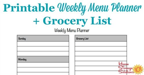 Free Printable Weekly Menu Planner Template Plus Accompanying Grocery List  {courtesy Of Home Storage Solutions ...  Free Weekly Menu Templates