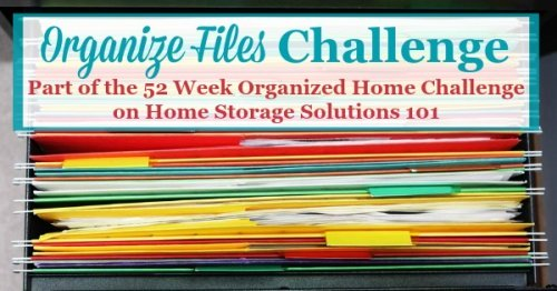 How to organize files and create a home filing system to keep all of the household paperwork organized {part of the 52 Week Organized Home Challenge on Home Storage Solutions 101}