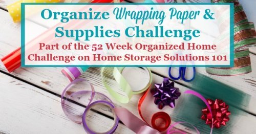 Here are step by step instructions for how to organize wrapping paper and other gift wrap supplies in your home {part of the 52 Week Organized Home Challenge on Home Storage Solutions 101} #ChristmasOrganizing #OrganizedHome #HolidayOrganization