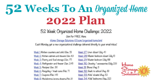 Free printable list of the 52 Weeks To An Organized Home Challenges for 2022. Join over 150,000 others who are getting their homes organized one week at a time! {on Home Storage Solutions 101} #OrganizedHome #Organization #Organized