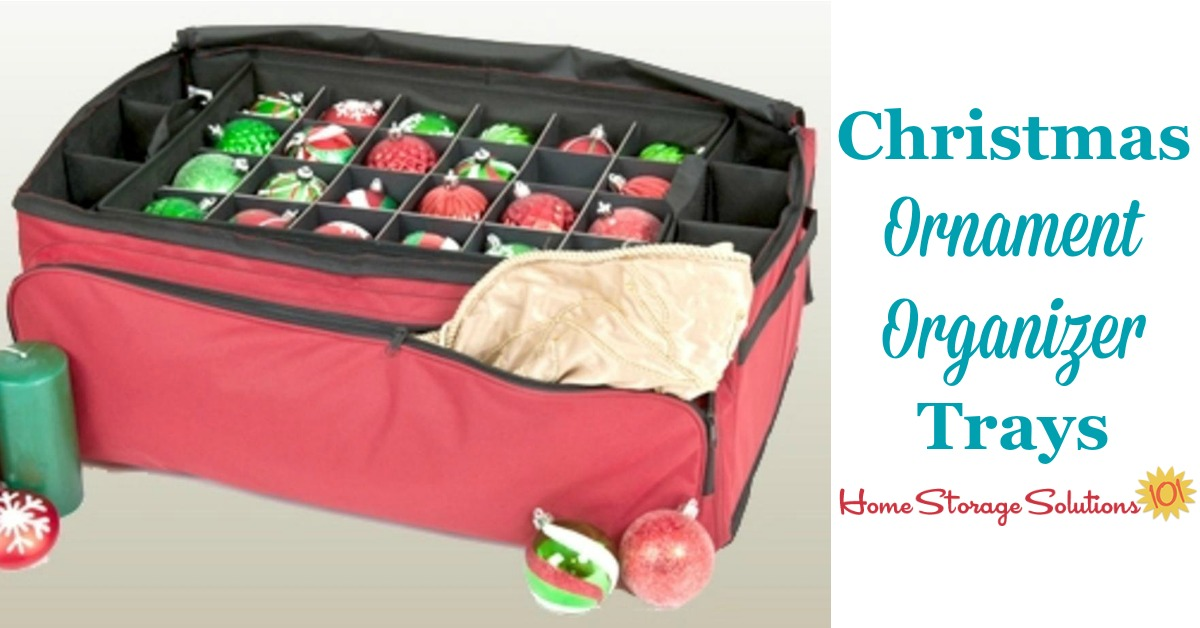 The Ornament Pro ornament organizer trays and container helps you store and keep safe smaller uniform size and shaped Christmas ornaments and other decorations for your tree, so they don't break and are preserved from year to year {featured on Home Storage Solutions 101}
