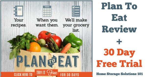 Plan to Eat is an online meal planner resource you can use to handle all the portions of planning your meals, from recipe organization, creating your grocery shopping list, and, of course, planning your menu for the week. Here's a quick review, testimonials from users, and a 30 day free trial {on Home Storage Solutions 101}