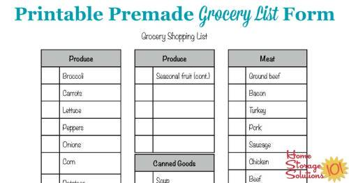 free printable grocery list form
