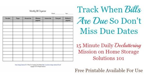 Printables Bill Organizer Worksheet printable monthly bill organizer to make sure you pay bills on time todays declutter365 mission is track when are due so dont