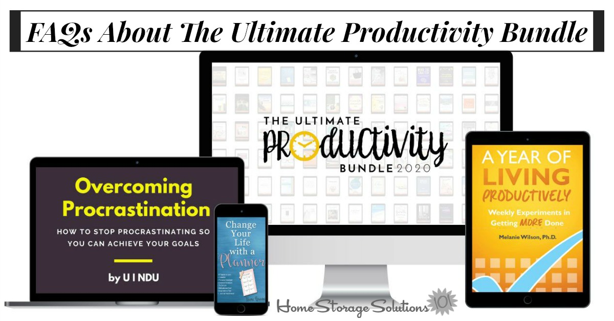 The Ultimate Productivity Bundle has 73 resources to help you with time management, goal setting, and productivity at work and home, including printables, eBooks and eCourses, that is worth more than $2,800, but for 97% off, for just $47 {more information on Home Storage Solutions 101}