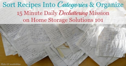 After you've decluttered recipes, the next step in the process is to sort your recipes into categories and organize them. Here are suggested recipes categories for the #Declutter365 mission {on Home Storage Solutions 101}