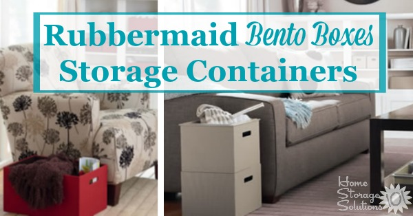 Rubbermaid Bento Boxes are designed to not only store objects, but to keep the contents organized at the same time. Therefore, they serve as both a decorative storage box and an organizer at the same time {featured on Home Storage Solutions 101}