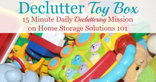 Here is how to get rid of toy clutter from toy boxes, bins and other containers, so kids can enjoy the toys they have while adults aren't overwhelmed with too much stuff {a #Declutter365 mission on Home Storage Solutions 101}