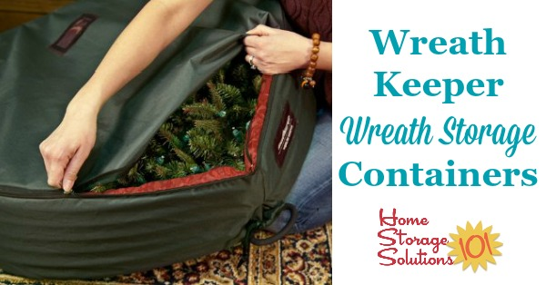 These WreathKeeper wreath storage containers are designed to keep your wreaths clean and unsmashed from season to season, and hang to keep the wreath from distorting while in storage {featured on Home Storage Solutions 101} #HolidayStorage #ChristmasStorage #WreathStorage