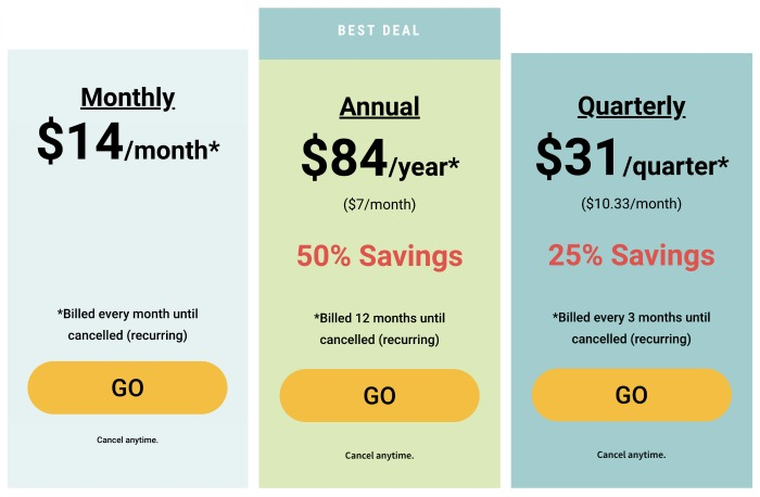 Prices of the monthly, quarterly and annual plans for Eat at Home Meal Plans, including how you save more by buying the quarterly or annual plan {full review on Home Storage Solutions 101}