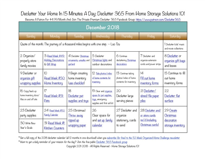 Free printable December 2018 #decluttering calendar with daily 15 minute missions. Follow the entire #Declutter365 plan provided by Home Storage Solutions 101 to #declutter your whole house in a year.