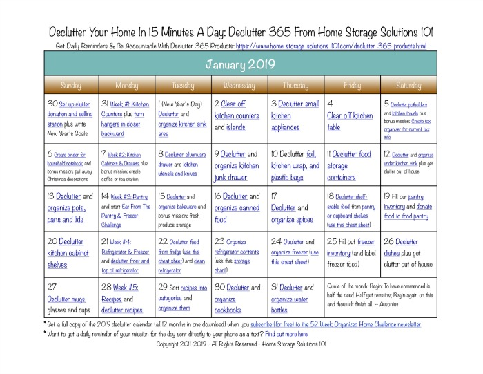 Free printable January 2019 #decluttering calendar with daily 15 minute missions. Follow the entire #Declutter365 plan provided by Home Storage Solutions 101 to #declutter your whole house in a year.