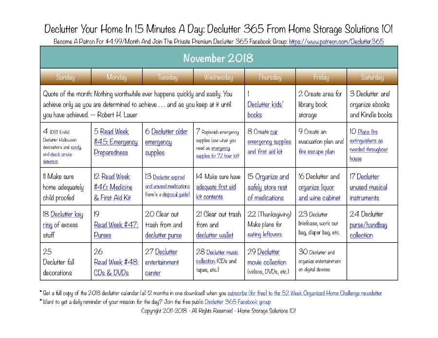 Free printable November 2018 #decluttering calendar with daily 15 minute missions. Follow the entire #Declutter365 plan provided by Home Storage Solutions 101 to #declutter your whole house in a year.