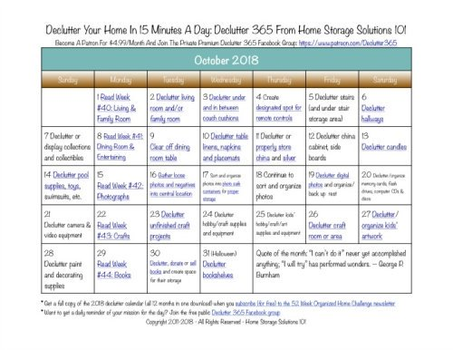 Free printable October 2018 #decluttering calendar with daily 15 minute missions. Follow the entire #Declutter365 plan provided by Home Storage Solutions 101 to #declutter your whole house in a year.