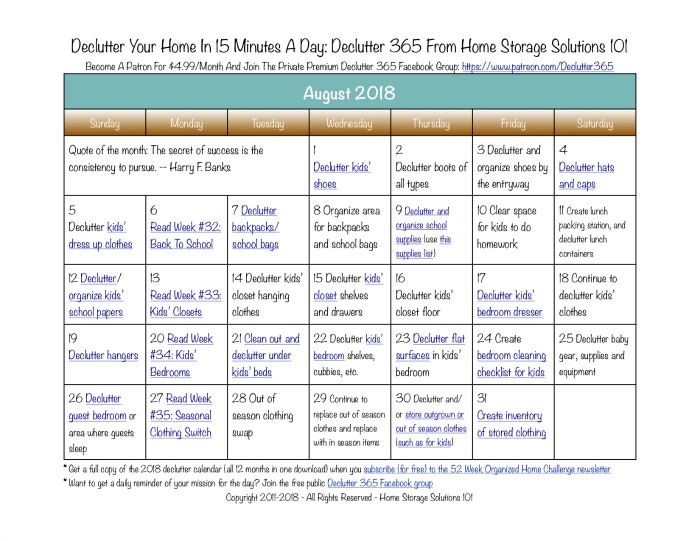 Free printable August 2018 decluttering calendar with daily 15 minute missions. Follow the entire Declutter 365 plan provided by Home Storage Solutions 101 to declutter your whole house in a year.