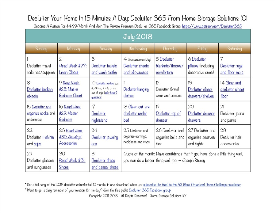 Free printable July 2018 #decluttering calendar with daily 15 minute missions. Follow the entire #Declutter365 plan provided by Home Storage Solutions 101 to #declutter your whole house in a year.