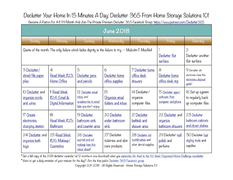 Free printable June 2018 #decluttering calendar with daily 15 minute missions. Follow the entire #Declutter365 plan provided by Home Storage Solutions 101 to #declutter your whole house in a year.