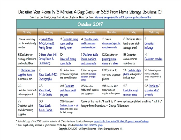Free printable October 2017 decluttering calendar with daily 15 minute missions. Follow the entire Declutter 365 plan provided by Home Storage Solutions 101 to declutter your whole house in a year.