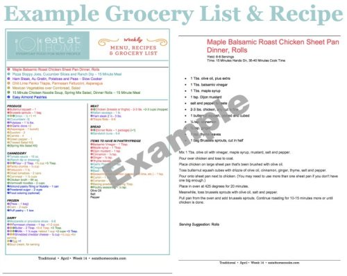 Example grocery list and recipe from the Eat At Home meal plans {on Home Storage Solutions 101}