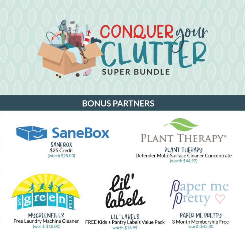 Bonus partners for the Conquer Your Clutter Super Bundle