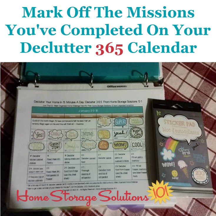Mark off the missions you've completed on your Declutter 365 calendar {on Home Storage Solutions 101} #Declutter365
