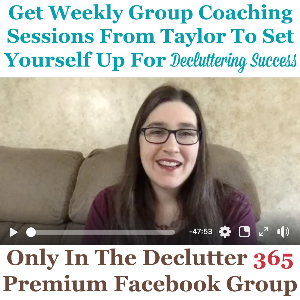 To set yourself up for decluttering success, make sure to take advantage of the weekly group coaching sessions from Taylor within the private and exclusive Facebook group {on Home Storage Solutions 101} #Declutter365 #Decluttering #DeclutterHelp