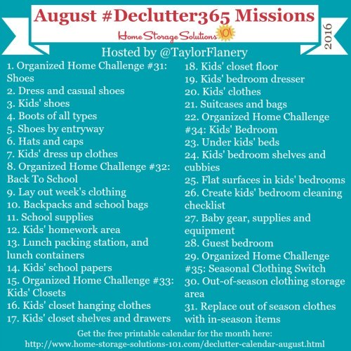 Join the #Declutter365 missions on Instagram and show off what you declutter. Here are your 15 minute missions for August! Follow taylorflanery on Instagram to see the missions daily.