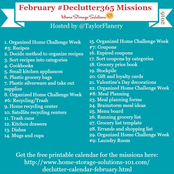 Join the #Declutter365 missions on Instagram and show off what you declutter. Here are your 15 minute missions for February! Follow @taylorflanery to see the missions daily.