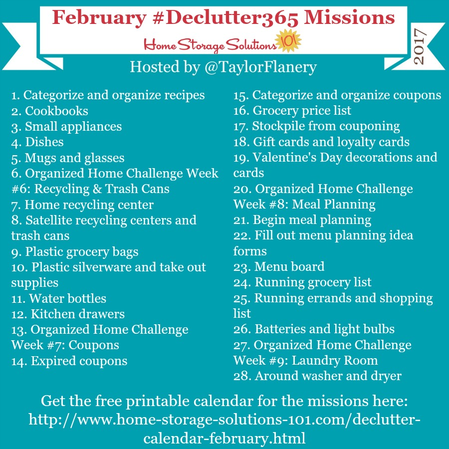 Join the #Declutter365 missions on Instagram and show off what you declutter. Here are your 15 minute missions for February! Follow taylorflanery to see the missions daily.