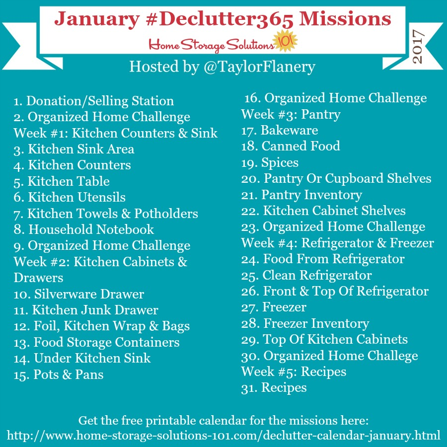 Join the #Declutter365 missions on Instagram and show off what you declutter. Here are your 15 minute missions for January! Follow taylorflanery to see the missions daily.