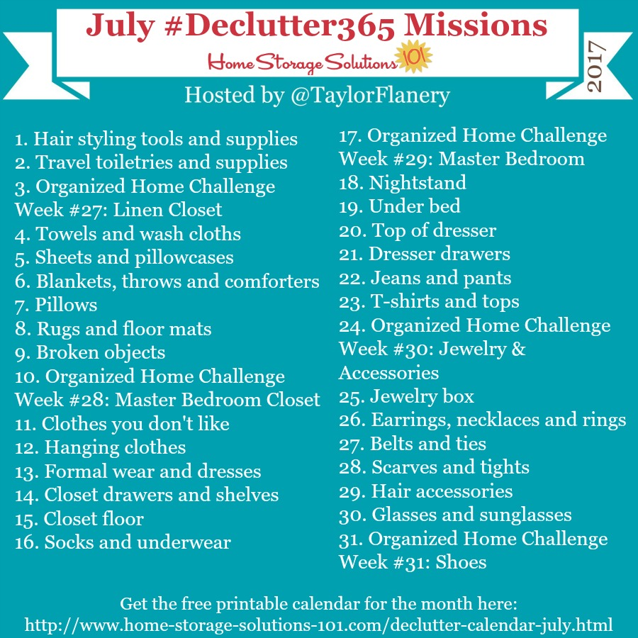 Join the #Declutter365 missions on Instagram and show off what you declutter. Here are your 15 minute missions for July! Follow taylorflanery on Instagram to see the missions daily.