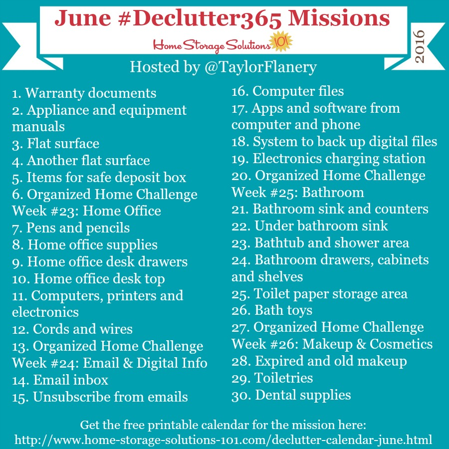 Join the #Declutter365 missions on Instagram and show off what you declutter. Here are your 15 minute missions for June! Follow taylorflanery on Instagram to see the missions daily.