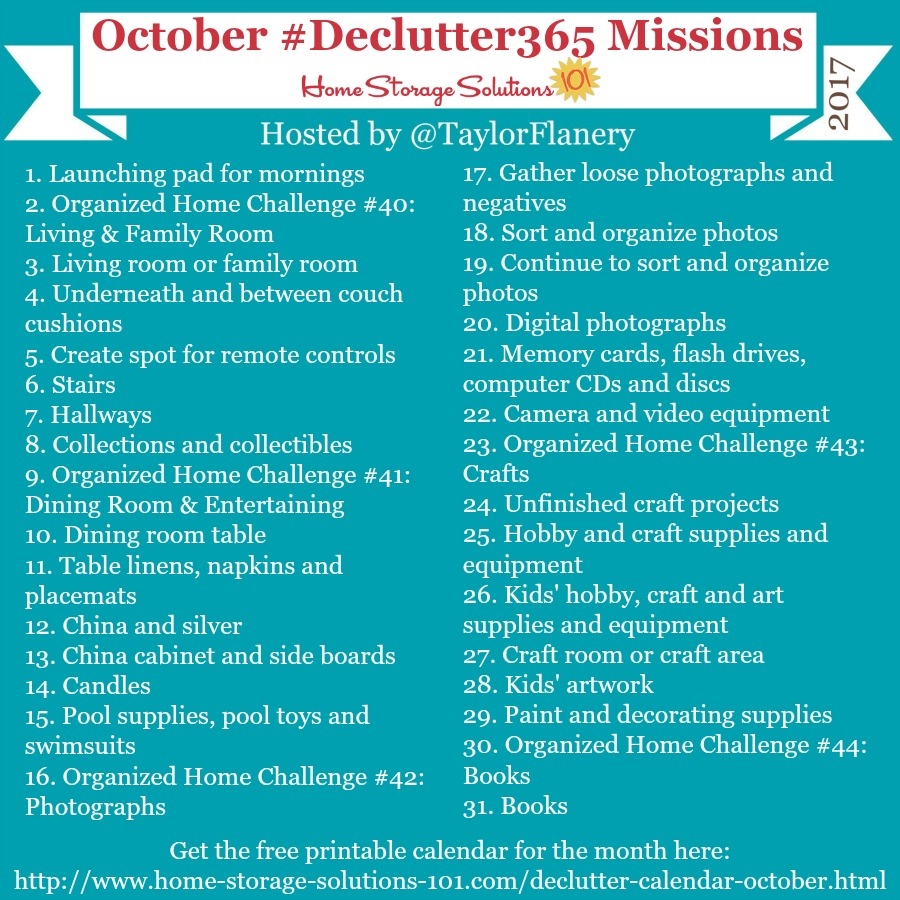 Join the #Declutter365 missions on Instagram and show off what you declutter. Here are your 15 minute missions for October! Follow taylorflanery on Instagram to see the missions daily.