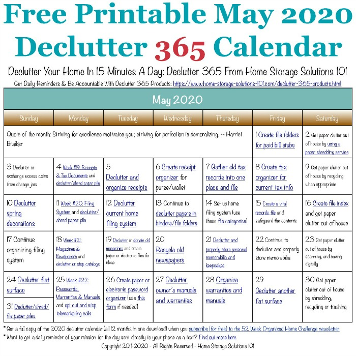 Free printable May 2020 #decluttering calendar with daily 15 minute missions. Follow the entire #Declutter365 plan provided by Home Storage Solutions 101 to #declutter your whole house in a year.